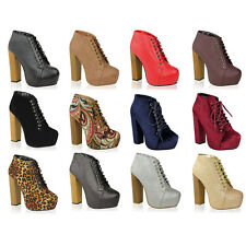 Womens Wooden Block High Heel Platform Lace Up Ankle Boots Shoes Size