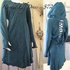 Gorgeous Elf Mini Dress With Large Hood, Thumb Holes and Back Braid Detail TEAL