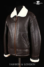 Men's USAF AVIATOR B-3 SHEEPSKIN Brown Beige Leather Shearling WW2 Bomber Jacket
