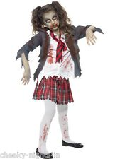 Zombie School Girl Costume Grey Tartan Skirt Jacket Shirt Tie Halloween Horror