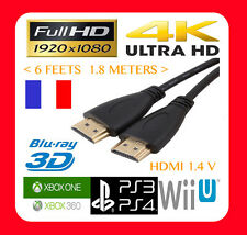 CABLE HDMI FULL HD 1920x1080 4K LCD 3D PS3 PS4 XBOX ONE 360 BLURAY 1.4V 1.8M