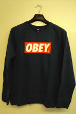 MENS OBEY NAVY BLUE SWEATSHIRT THE BOX CREW RRP £60