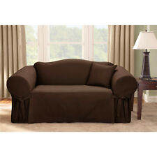 Modern Microsuede Love Seat Slipcover Furniture Protector w/ Tie Backs 3 Colors