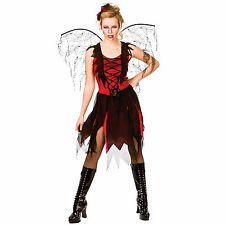 Ladies Black & Red Goth Vamp Fairy Horror Fancy Dress Party Costume Outfit New