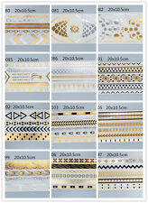 Latest 14 kinds Gold Silver Metallic Temporary Tattoos Jewelry Fancy Flash Body