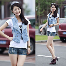 Women Girl's Jean Vest Vintage Frayed Cardigan Denim Waistcoat Jacket Outerwear