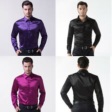 Big Sale Cheap Stylish Men Casual/Formal Shirts Tops Luxury Satin Dress Shirts