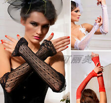 T04 Sexy Women Lace Fingerless Fishnet Wedding Evening Party Length Gloves FREE