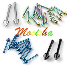 20G 10X Stainless Steel Awl Taper Spike Nose Studs Ring Body Piercing Punk Gift