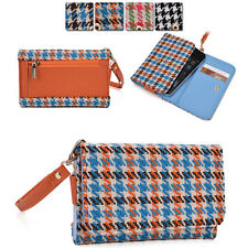 Kroo Ladie-s Houndstooth Pattern Fad Fashion Purse Case AM|M fits Mobile Cell