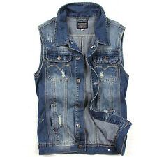 Fashion Men's Sleeveless Spring Autumn Waistcoat Blue Casual Denim M32 Jacket