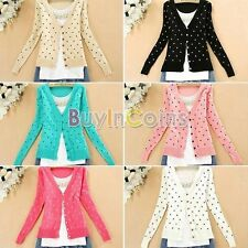 Contrast Down Heart-Shape Pattern Knitted Comfort Sweaters Cardigan Tops RSUS