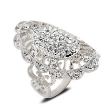 Noble Lady Clear Crystal Inlay Hollow Design Silver Tone Ring Jewelry Party Gift