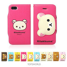 "New Rilakkuma Face Button Wallet Case For Apple iPhone 6 4.7"" Card Storage Case"