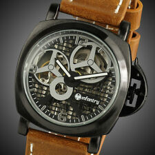 Mens LUXURY Skeleton Mechanical Semi Automatic Wrist Watch Black /Brown Leather