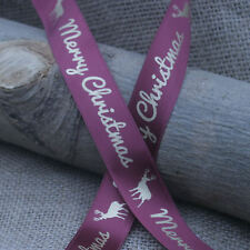 25mm DESIGN YOUR OWN PERSONALISED/PRINTED CHRISTMAS SATIN RIBBON - gift wrap