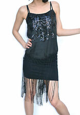 Sequin Beaded fringe Flapper deco gatsby dress cocktail formal dress tassles s m