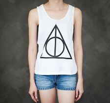 Harry Potter Deathly Hallows Symbol Solid Sexy Sideboob Cropped Tank Top Low Cut