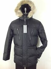 Andrew Marc NWT Men's Warm Black Down Jacket Real Coyote Fur Trimmed Hood S,M,XL
