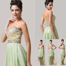 Fairy Ladies High-Low Beaded Cocktail Party Dance Gown Prom Brides Evening Dress