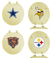 FC312 NFL THEMED OFF WHITE BEIGE FINISH MOLDED WOOD ROUND TOILET SEAT COVER LID