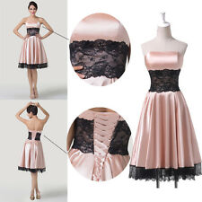 New Light Pink Lace Applique Bridesmaid Prom Evening Dress Cocktail Short Gown