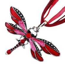 Vintage Fashion Dragonfly Long Pendant Necklace Chain Crystal Rhinestone Silver