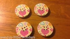 4 Large Round Winter Coat Buttons Lemon & Pink Heart 30mm Wood