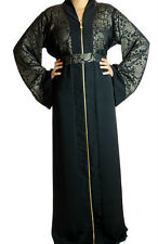 Very Special beautiful Front long zip with upper printed cloth Abaya S-0326