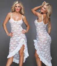 Black Red White Lace Lingerie Night Gown Long Babydoll Plus S M L XL 2XL 3XL 4XL