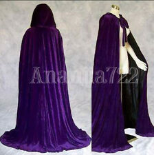 Stock!Purple Hooded Cloak Velvet Wedding Cape Wicca Medieva Shawl Sca Size S-XXL