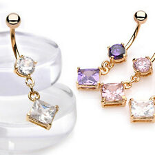 Gold Plated Crystal Diamond Drop Dangle Belly Bar - Choose Colour