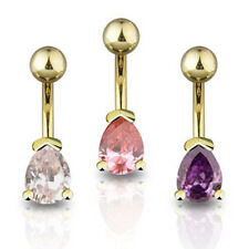 Gold Plated Crystal Tear Drop Belly Bar - Choose Colour