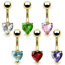 Gold Plated Crystal Heart Belly Bar - Choose Colour