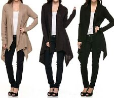 Open Front Cardigan Long Sleeve Draped Sweater Knit Sharkbite Hem Jacket Warm