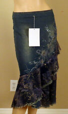 WEST 36TH BLUE DENIM JEANS SKIRT GLITTER LACED METAL BEADS FLOWERS 3263