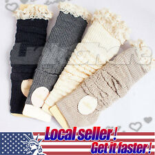 Crochet Lace Trim Cotton Knit Leg Warmers Boot Socks Knee High Off White Black