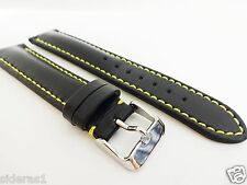 WHOLESALE LOT BLACK/YELLOW STITCH LEATHER BAND FITS  TAG HEUER-MADE IN FRANCE