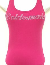 RHINESTONE (BRIDESMAID) FUCSHIA  TANK TOP SHIRT SIZE:S,M,L,XL HOT PINK