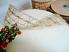 WIRED,NATURAL HESSIAN LACE RIBBON,JUTE,BURLAP,50mm,40mm,100mm, FLORAL,CHRISTMAS,