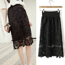 ❤CHEAP❤ Sexy Black/Ivory Women Half Dress Skirts Hips-Wrapped Lace Evening Skirt