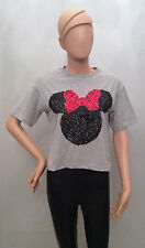 ADULT Ladies DISNEY MINNIE MOUSE SEQUIN LOGO Cropped T shirt from PRIMARK