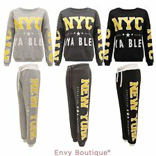 WOMENS LADIES NEW YORK PRINT TRACKSUIT GYM JOGGING BOTTOMS SWEATSHIRT TROUSERS