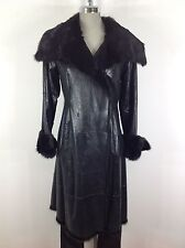 Andrew Marc NWT Luxurious Modern Black Real Rabbit  Shearling Coat-Made in Turke