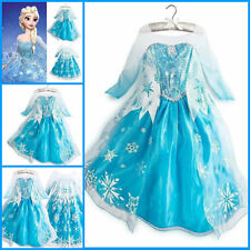 Kids Girls Dresses Disney Elsa Anna Frozen dress costume Princess Anna dresses
