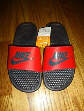 Nike Benassi JDI Slide Sandals Black Red Pimento Youth Kids Boys Girls New