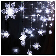 2m x1m 104 Led Curtain Lights Snowflake String Fairy Wedding Party Xmas Lamps
