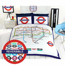 Heart of London on a Duvet Cover! London Underground Map with Stations / Trains