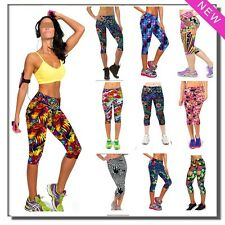 Women Knit Floral Print Yoga Legging Casual Workout Fitness Exercise Gym Capri
