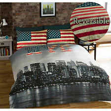 American Inspired New York Skyline Duvet Cover with Vintage USA Flag Reverse